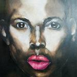 Zwarte vrouw 100x150cm acryl op doek-w